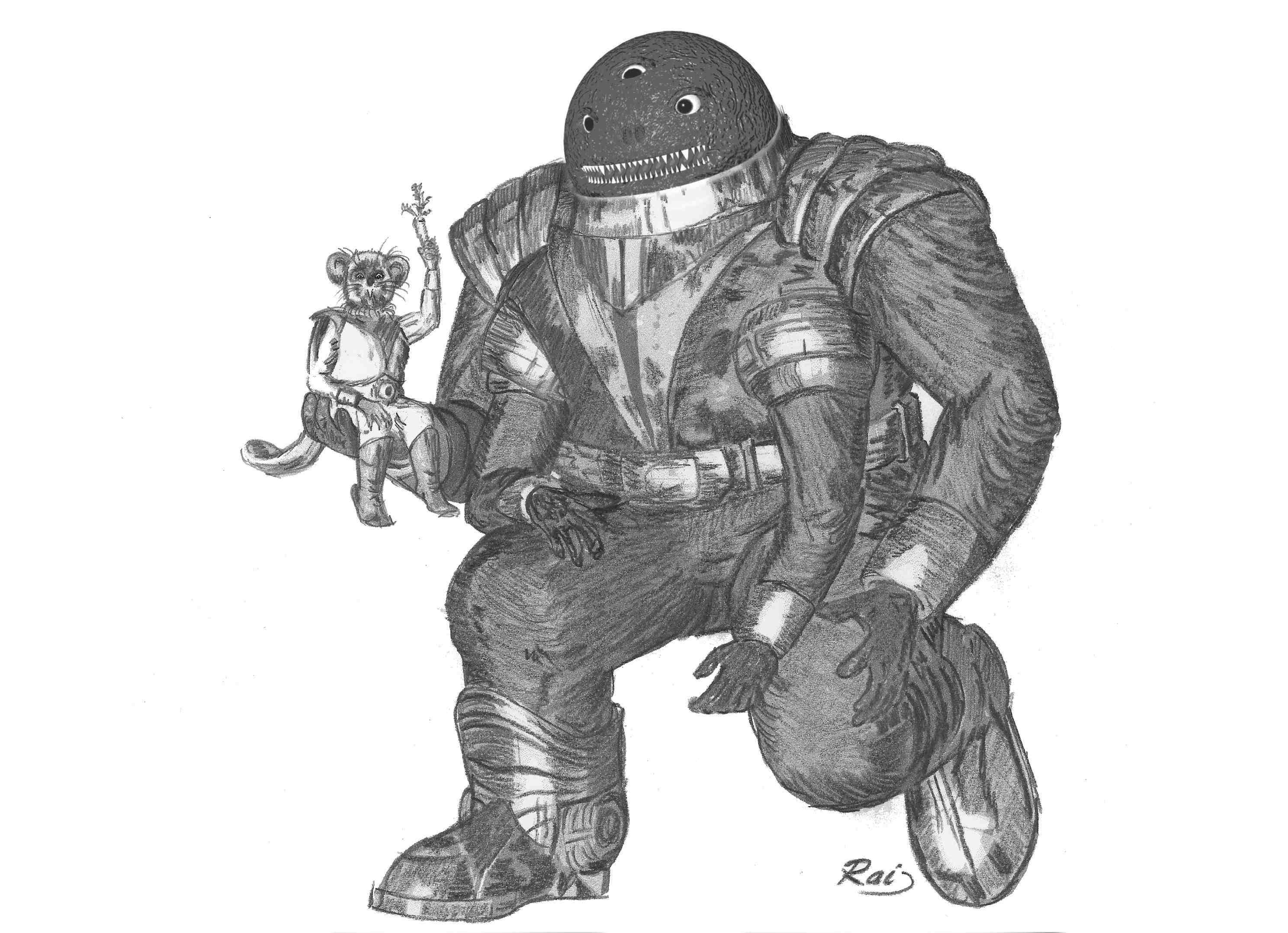 Der Haluter Icho Tolot entdeckt das havarierte Raumschiff der dabrifanischen Agenten Juki Leann und Darren Zitarra.  Der Mausbiber ist in seinem Element und legt sich sogar mit dem exzentrischen Wissenschaftler Renier Bievre an.  (C) Raimund Peter
