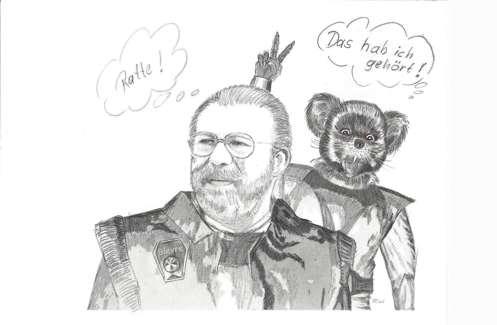 """Gemütlich, rundlich mit zerschlissener Uniform und altmodischer Brille.  Der Wissenschafter kümmert sich nicht um Konventionen, ist aber aufgrund seines Fachwissens im Bereich sechsdimensionaler Phänomene von großem Nutzen. Mit dem aus seiner Sicht vorlauten Mausbiber steht er auf Kriegsfuß und bezeichnet ihn wenig schmeichelhaft als """"Ratte"""".  (C) Raimund Peter"""