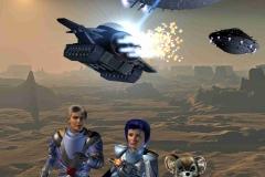 Doch wieder beginnt ein Angriff. Zwei Großkampfschiffe der Blues erscheinen über dem Planeten. Gucky teleportiert Rhodan und Sukurai in Sicherheit, doch bevor er Zitarra herausholen kann, explodiert der Flugpanzer. (C) Raimund Peter