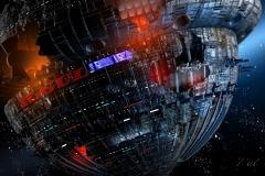 Die YOGUL . Ein Wrack mit terranischer Besatzung. Mit einer Space Jet nähert sich Perry Rhodan dem Wrack,  um den Schiffbrüchigen mit einem Einsatzteam Hilfe zu leisten.  (C) Raimund Peter